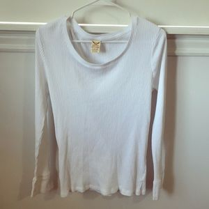 Tops - White Youth Large Ribbed Long Sleeve
